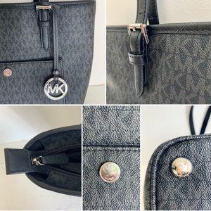 Michael Kors Bags - Michael Kors Black Logo Print Jet Set Tote Handbag